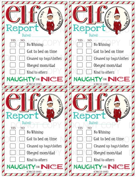 Printable Elf on the Shelf inspired Naughty by onelovedesignsllc