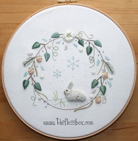 Winter Wreath Stumpwork and Floor Embroidery Sample