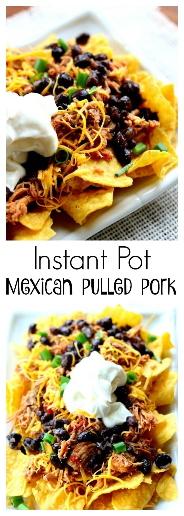 Instant Pot Mexican Pulled Pork–fall apart tender pork is cooked in your pressure cooker and then a few extra ingredients are added to give the meat a southwestern flare. This pork is perfect for tacos, salads, nachos and burritos!