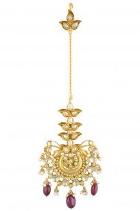 Gold Finish Crystals And Red Onyx Stone Maang Tikka #perniaspopupshop #amrapali…