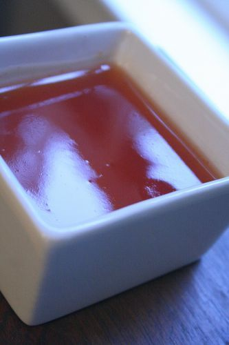 Chinese Restaurant Sweet and Sour Sauce. Didn't realize it was this simple.     1 cup sugar     1/2 cup vinegar(white or rice)     1/2 cup water     3 T. Ketchup(shut up!)     1T. cornstarch