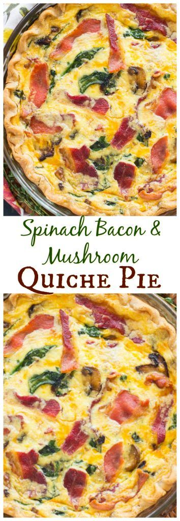 This Bacon Spinach Mushroom Quiche Pie recipe is loaded with veggies cheese and bacon a totally complete filling breakfast dish Quiches, Bacon Recipes, Pie Recipes, Cooking Recipes, Yummy Recipes, Breakfast Quiche, Breakfast Dishes, Breakfast Casserole, Paleo Breakfast
