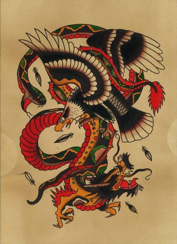 Traditional snake eagle dragon tattoo flash print for Traditional tattoo flash