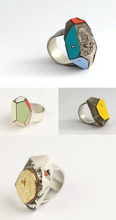 Rings made of reclaimed building materials, like laminate and plywood by New Zealand's designer Vanessa Arthur