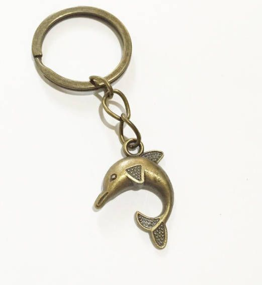 Antique Bronze Dolphin keychain, Animal key ring, keyring gift for him gift for her for children cute keychain Sea Animal key chain