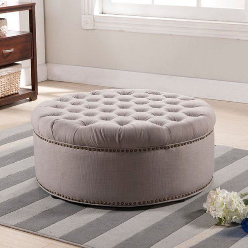 Large Round Fabric Ottoman
