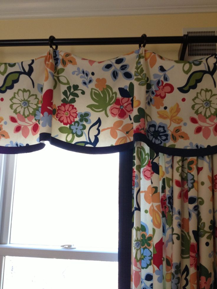 Pinch Pleat Valance, Vibrant Floral Fabric With Navy Tape Trim, Casual  Elegant Window Treatments