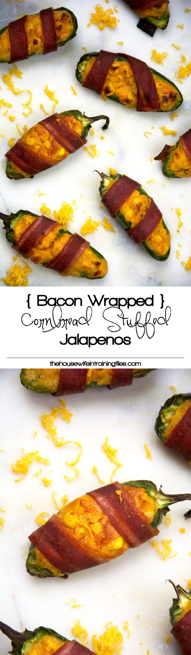 Cheesy Corn Stuffed Jalapenos Cheesy cornbread is stuffed into jalapenos, wrapped in turkey bacon then baked! Surprisingly healthy and completely irresistible!