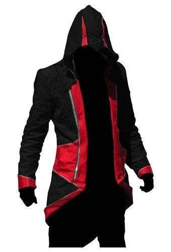 Big Sale  Assassin's Creed III Connor Kenway Coat Jacket Hoodie Cosplay Costume (Black Red, Male-X-Large)