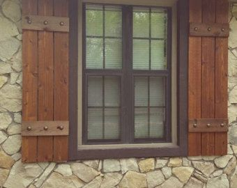Best 25 rustic shutters ideas on pinterest farmhouse - Exterior wooden shutters for windows ...