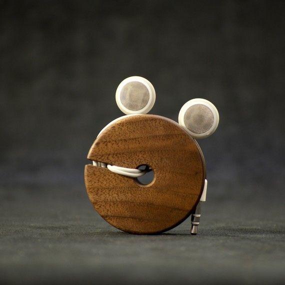 Wooden Earphone Holder Earbud Cord Organizer By
