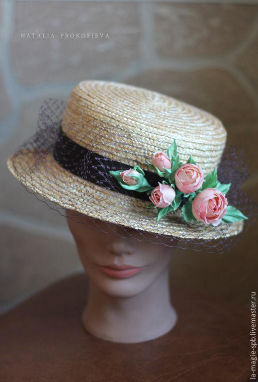 Купить Канотье с шёлковыми розами - золотой, чайные розы, шоколадный, летняя…