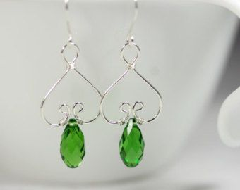 Green Swarovski Earrings Wire Wrapped Jewelry by JessicaLuuJewelry