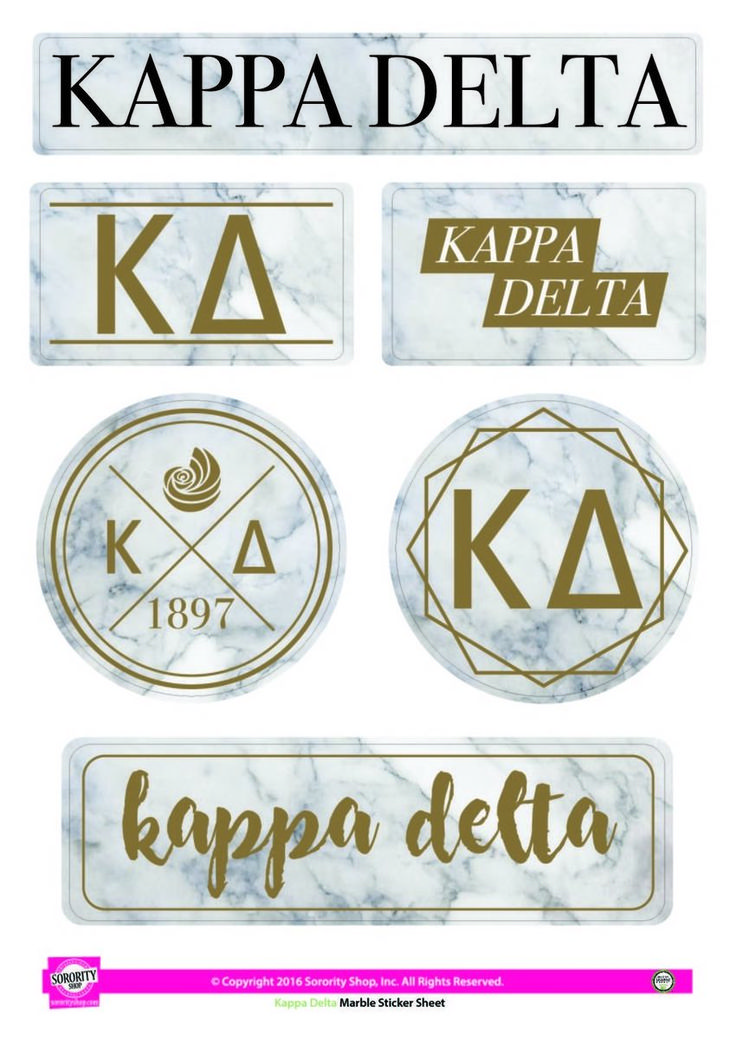 Kappa Delta Sorority Stickers- Marble - Brothers and Sisters' Greek Store