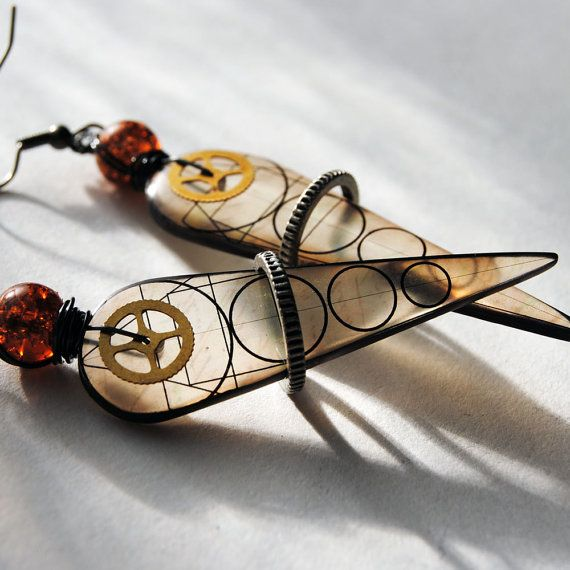 Vitruvian geometric , resin earrings, sepia colored , geometric earrings , gyroscopic  earrings, streampunk earrings