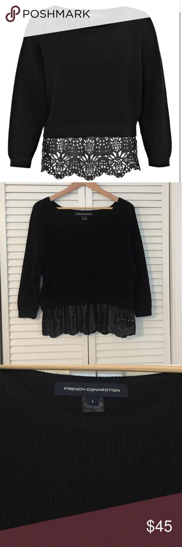 """French Connection leather peplum sweater Chic black sweater with faux leather peplum. Sweater is 100% cotton and faux leather peplum has laser cut design. EUC! Size is Large. Laying flat is approx 21"""" from back of neck to bottom of peplum. Bust is approx 21"""" as well. French Connection Sweaters"""