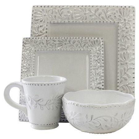 16-Piece Isabelle Square Dinnerware Set in White at Joss and Main