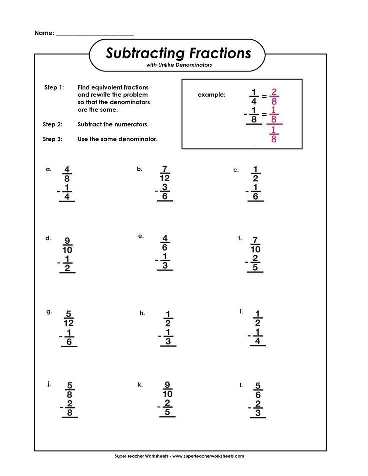 Subtracting Fractions With Unlike Denominators Fractions
