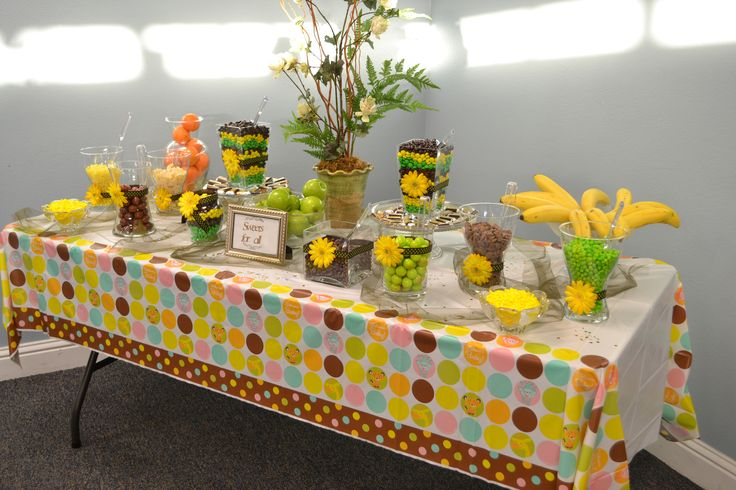 Candy buffet for my daughter 39 s baby shower jungle safari for Baby shower safari decoration
