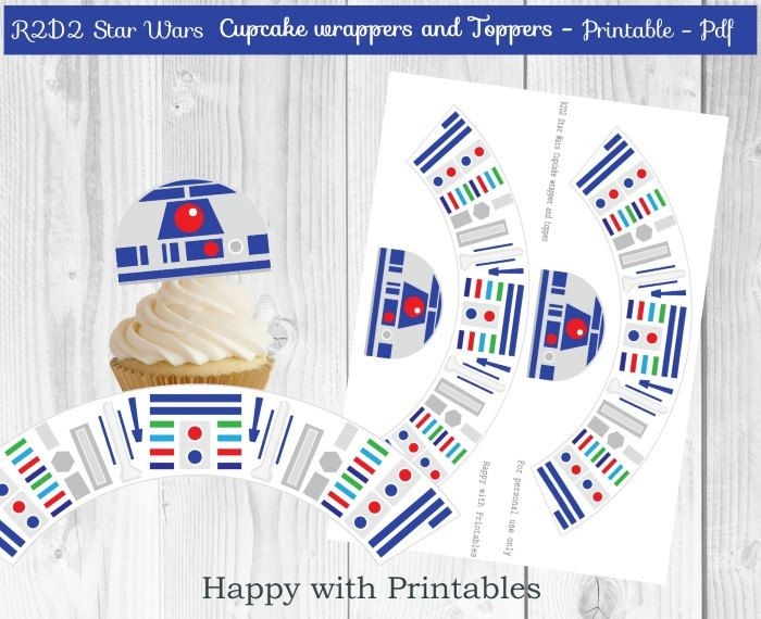 R2D2 Star Wars Cupcake wrappers and Toppers - R2D2 cupcake toppers - R2D2 cake wrappers - Star Wars The Force Awakens wrappers and toppers by HappywithPrintables on Etsy