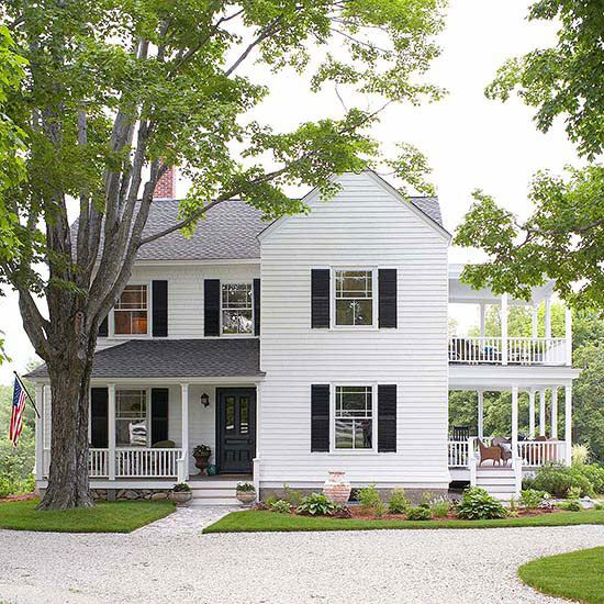 "BHG used this New Hampshire farmhouse in their article ""Find the Perfect Color for Your House Style"" (owners Joan and Dan Ross)"
