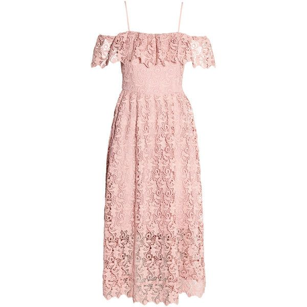 Off-the-shoulder Lace Dress $129 (£100) ❤ liked on Polyvore featuring dresses, lace cocktail dress, off shoulder cocktail dress, pink dress, midi dresses and short lace dress