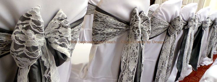 Double Grey Satin and Lace Bows on White Chair Covers   The Sophisticated Touch ...Chair Covers by Design