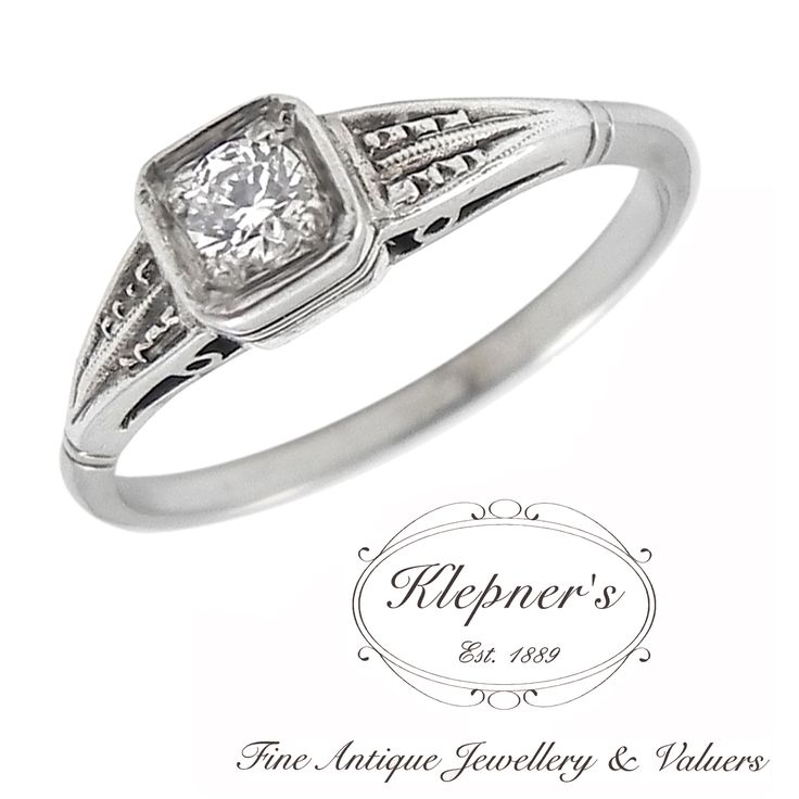 ART DECO INSPIRED SQUARE FRAMED SOLITAIRE RING. This Art Deco inspired filigree ring can be customized to include any combination of diamonds and/or gemstones such as sapphires, rubies, emeralds, birthstones, anniversary stones, etc & can be crafted in 9ct or 18ct white, rose or yellow gold, platinum or sterling silver.  Prices vary depending on your unique specifications, please don't hesitate to contact us for a quote tailored for you. Visit us at www.klepners.com.au