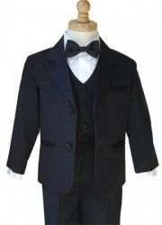 #Tuxedos aren't just for adults, we have them for little ones too!  Boys Tuxedo Package - Includes Tuxedo, Shirt, Vest & Accessories.  Black 2 button Tuxedo with Notch Lapel Matching Tuxedo Trousers Boys White Tuxedo Shirt Boys Black Satin Bow Tie Boys Black Satin Tuxedo Vest. Toddler Sizes: Small  (6 months), Med. (9 months), Large (12 months), X-Large (18 month)  Boys Sizes: 2, 3, 4, 5, 6, 7, 8, 10, 12, 14, 16 18, & 20