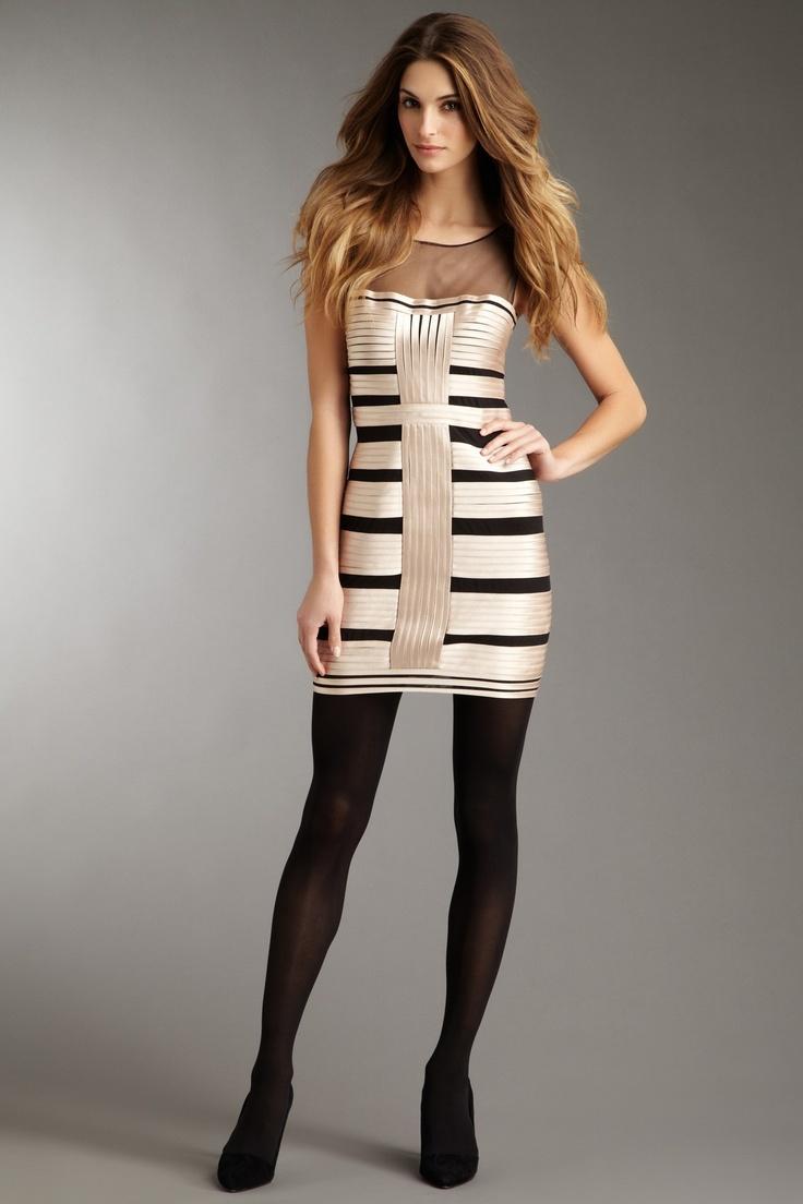 BCBMAXAZRIA - centurian satin stripe dress with tulle yoke