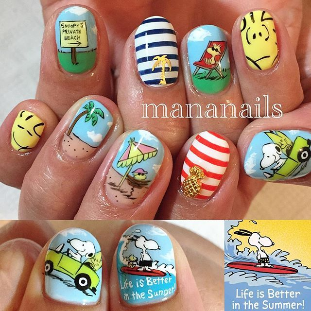 """""""Snoopy&Woodstock in the SUMMER"""" Photo taken by @mananails on Instagram, pinned via the InstaPin iOS App! http://www.instapinapp.com (07/05/2015)"""