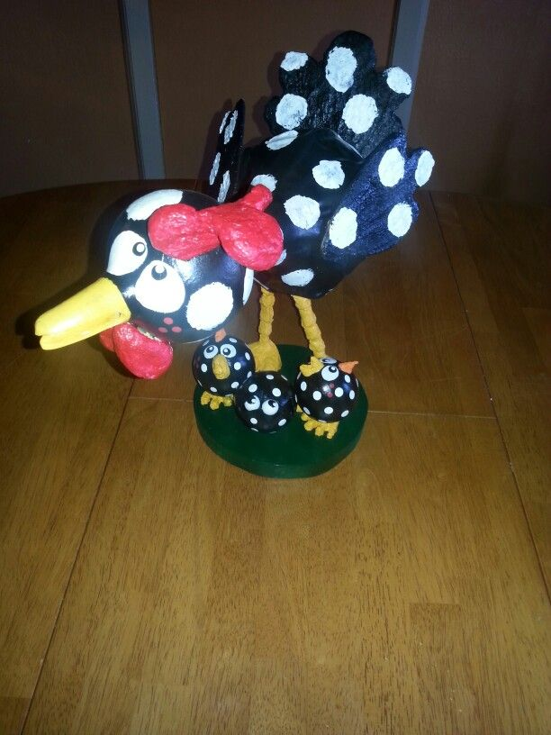 Gourd hen with chicks