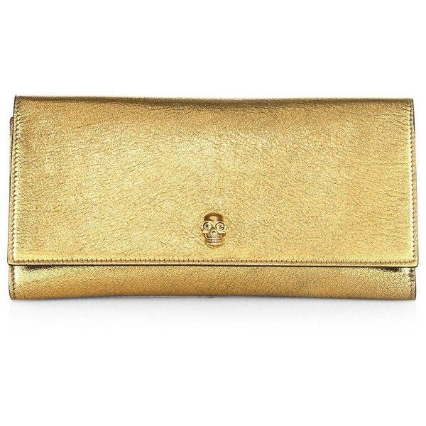 Alexander McQueen Metallic Leather Travel Wallet ($695) ❤ liked on Polyvore featuring bags, wallets, antique gold, apparel & accessories, alexander mcqueen wallet, leather snap wallet, leather trifold wallet, tri fold wallet and metallic wallet