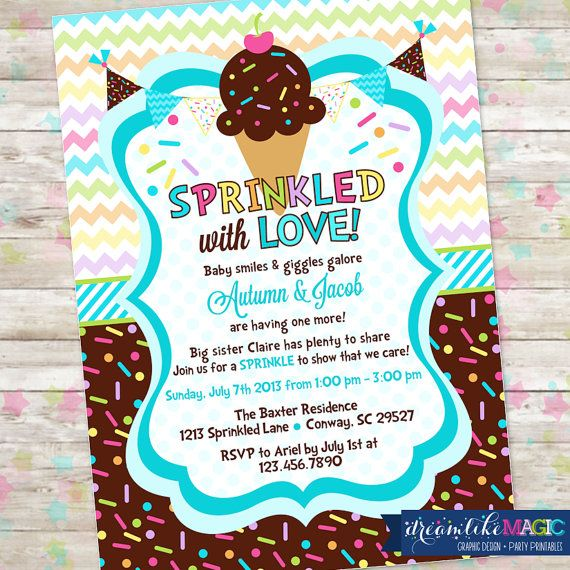 Baby Sprinkle Ice Cream with Sprinkles Baby Shower Invitation with Icecream Baby Boy Sprinkled with Love Invite on Etsy, $13.00