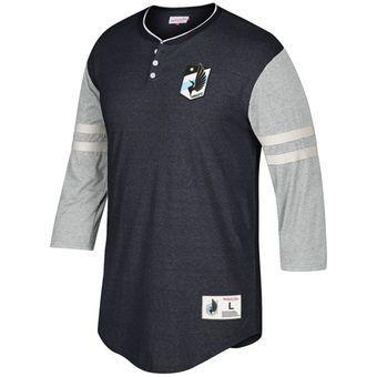 Minnesota United FC Mitchell & Ness Home Stretch 3/4-Sleeve Henley T-Shirt - Black/Heathered Gray