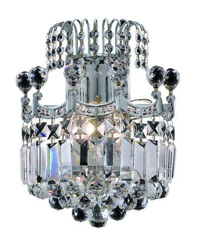 8949 Corona Collection Wall Sconce W12in H12in E6in Lt:2 Chrome Finish (Elegant Cut. 8949 Corona Collection Wall Sconce W12in H12in E6in Lt:2 Chrome Finish (Elegant Cut Crystal)  Watts: Lumens: Lamp Type: Shape: Style:Transitional Light Bulbs:2 Bulb Type:E12 Bulb Wattage:40 Max Wattage:80 Voltage:110V-125V Finish:Chrome Crystal Trim:Elegant Cut Crystal Color:Crystal (Clear) Hanging Weight:9