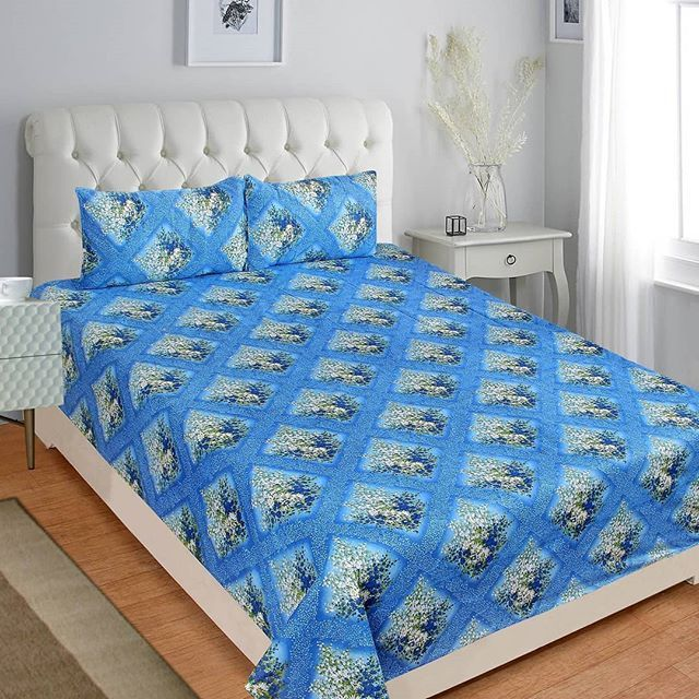 Blue Cotton Double Bedsheet With 2 Pillow Covers Color Blue
