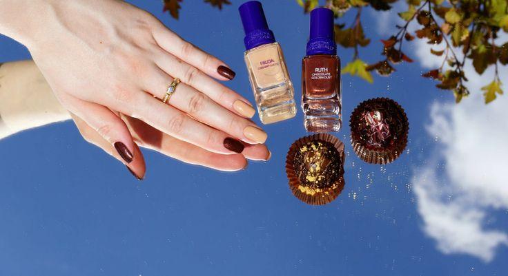 Christina Fitzgerald Ruth Chocolate Golden Dust, Hilda Creamy Latte Swatches/ Лаки для ногтей Кристина Фитцжеральд отзывы