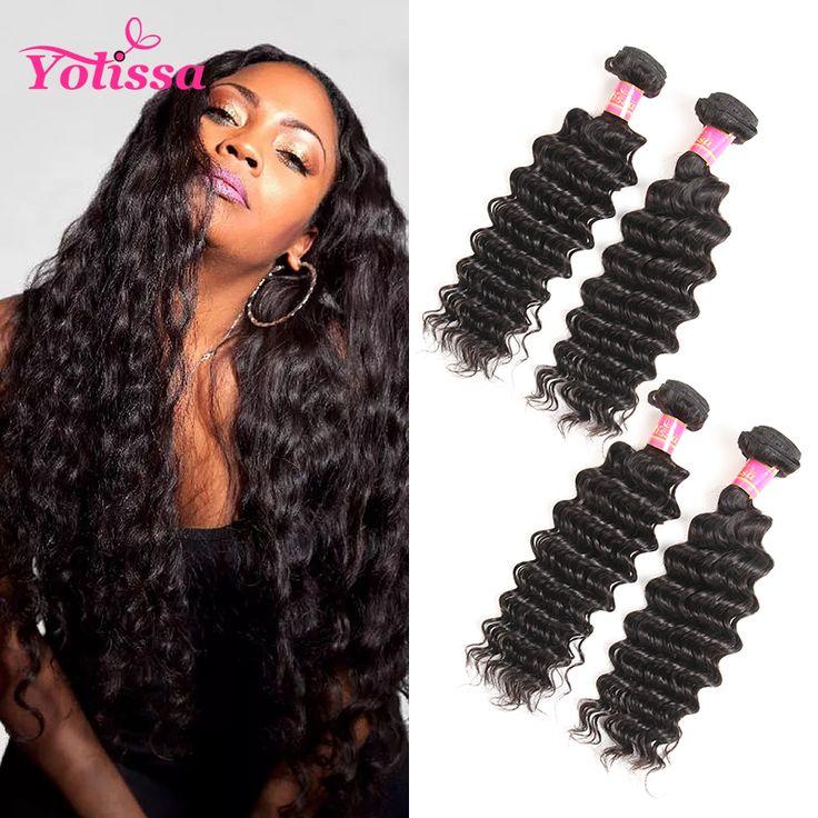 Yolissa 100% Human Hair Bundles Natural Black Brazilian Deep Wave Hair Weave 10-26 Inch 1 Bundle  Hair Extensions,no shedding, no tangle