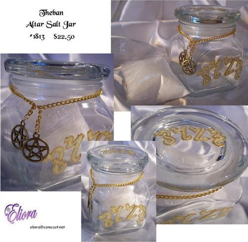 Altar Salt Jar - Wicca, Theban, Pentacle ~