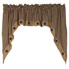 Primitive Country Farmhouse NAVY BLUE STAR Homespun Tan Curtain Window Swag