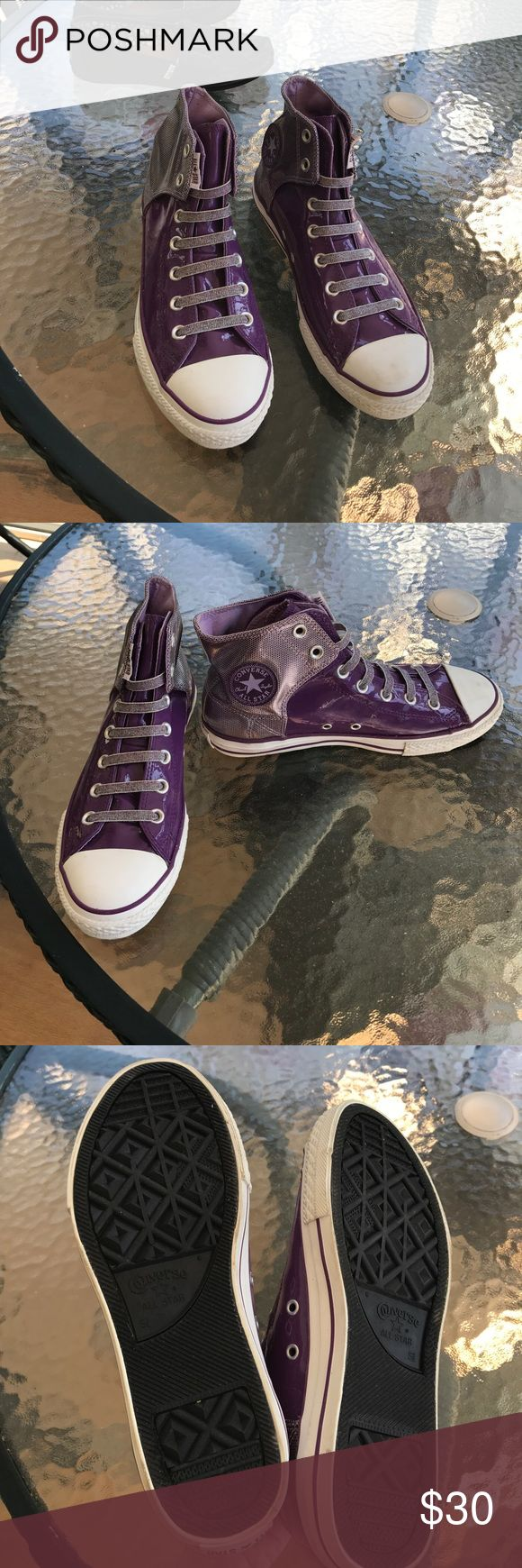 Purple Converse High Tops Worn only once! Purple converse high tops Converse Shoes Sneakers
