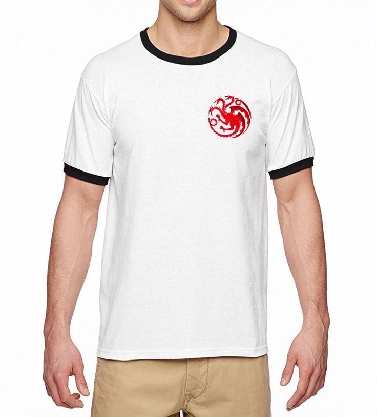 2017 Summer New Ringer Game of Thrones Dragon Printed T-Shirt Men 100% Cotton High Quality Men T-Shirts Hip Hop Men Tops Tees #Affiliate