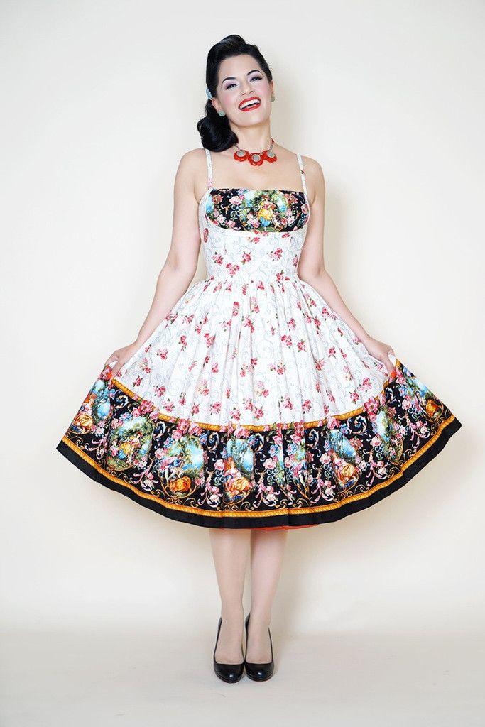 Paris Dress in Cream and Black Manor