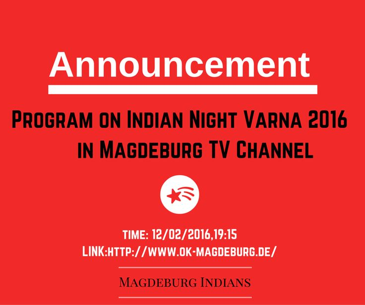We have some wonderful news! There is a program on Indian night in the Magdeburg Local Channel this Friday,12/2/2016. Do watch .Here is the link http://goo.gl/DPr5LM?utm_content=kuku.io&utm_medium=social&utm_source=www.pinterest.com&utm_campaign=kuku.io