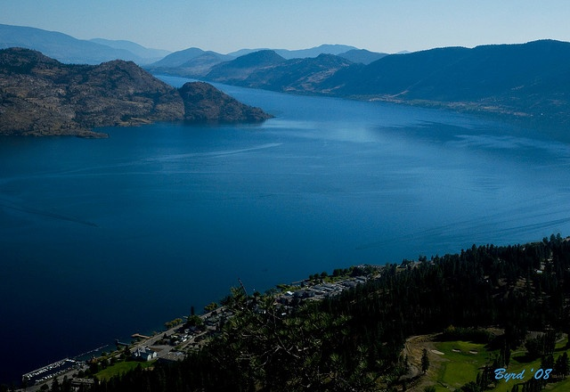 Okanagan Lake from Peachland  photo by Christopher Byrd.  Rattlesnake point on the left; Our home away from home on the right.