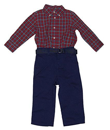 f6bc7c5f9 RALPH LAUREN Polo Baby Boys Plaid Shirt & Chino Pants Set (12 Months ...