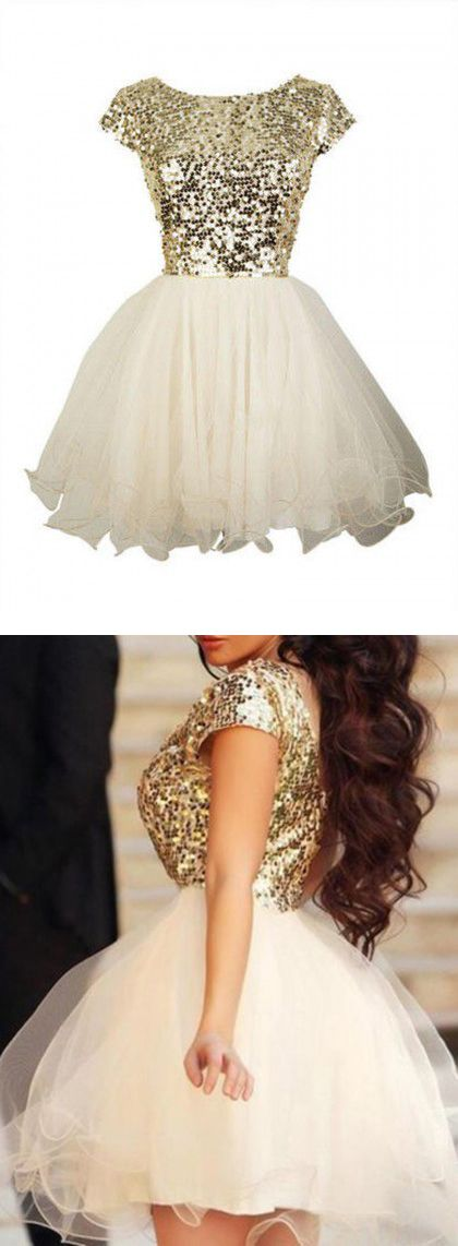 Golden Sequined Tulle Panel Cap Sleeve Homecoming Dress