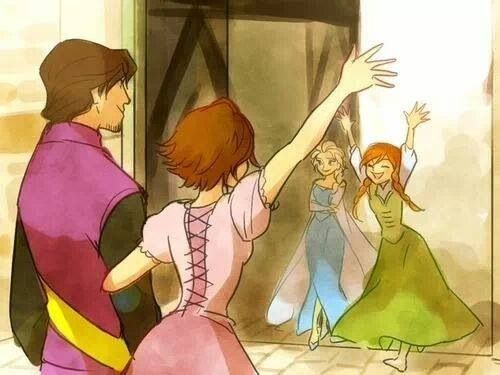 Flynn and Rapunzel visit Elsa and Anna