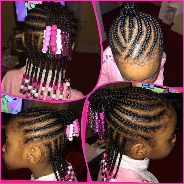 Cornrows with clear, pink and white beads for little girls.